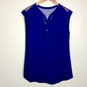 Rebecca Taylor Lace Accent Sleeveless Blouse